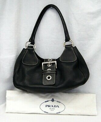 Authentic PRADA Vitello Daino with Silver Buckle Black Leather Shoulder Bag (Silver Prada)