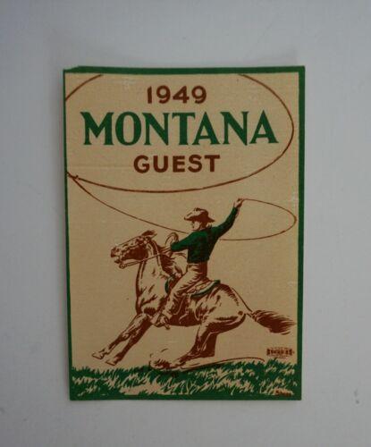 Original Vintage Travel Decal Montana Guest 1949 Cowboy Window Souvenir