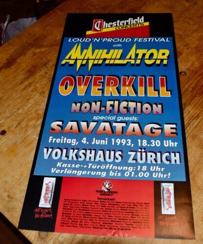 ANNIHILATOR overkill SAVATAGE Original Swiss CONCERT POSTER 1993