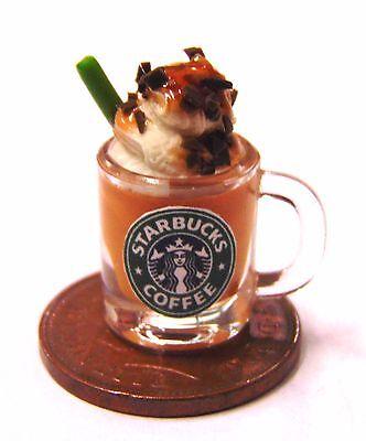 1:12 Mug Of Starbucks Caramel Chocolate Dolls House Miniature Drink Accessory