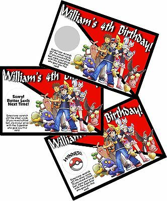 10 POKEMON PERSONALIZED SCRATCH OFF OFFS PARTY GAMES GAME CARDS BIRTHDAY FAVORS (Pokemon Party Games)