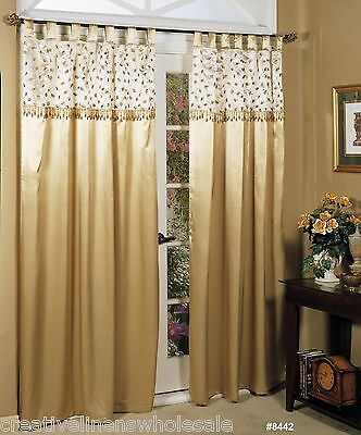 Fall Autumn Shimmer Golden Leaf Beaded Window Panel Curtain 2PCS Holiday 8442](Gold Shimmer Curtains)