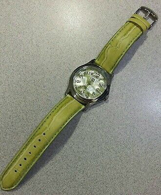 Activa Swiss Ladies Watch Lime Green Water Resist Silvertone New Battery Running