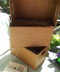 baskets (3) natural, metal frame Mosman Mosman Area Preview