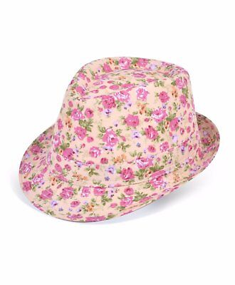 (Ladies Spring Summer Pink Floral Fedora Hat (H7914))