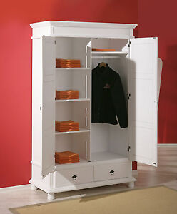 armoire penderie dressing rangement chambre vintage 2 portes bois massif blanc ebay. Black Bedroom Furniture Sets. Home Design Ideas
