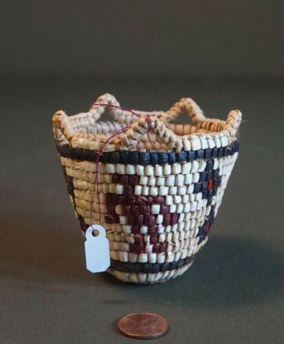 Native American Fully Imbricated Basket Human Figures & Stars by Elsie Thomas