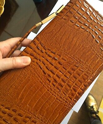 Pierre Cardin Brown Vintage Crocodile Clutch Bag Handbag Chain Strap