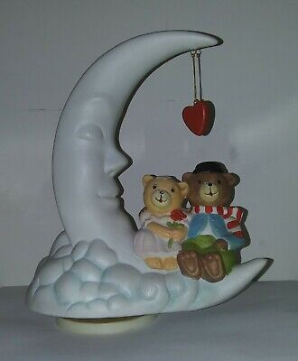 "Vintage Porcelain Music Box ""Moon and Bears""  Used and on great condition!"