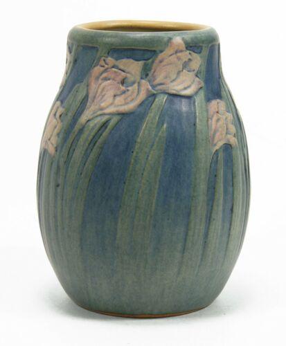 "Newcomb College Pottery 1918 4 5/8"" flower vase Arts & Crafts matte blue green"