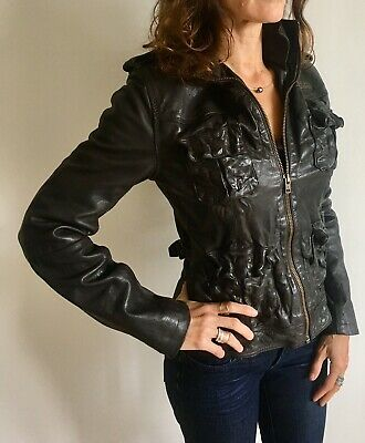 Gorgeous Women Superdry Leather Jacket - Size Small Elegant Cool Motorcycle Sm