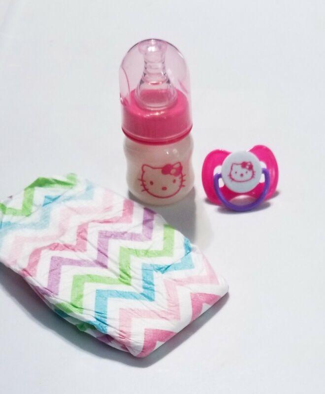 2oz Hello Kitty Reborn Baby Formula Bottle, Magnetic Pacifier & Diaper Set!