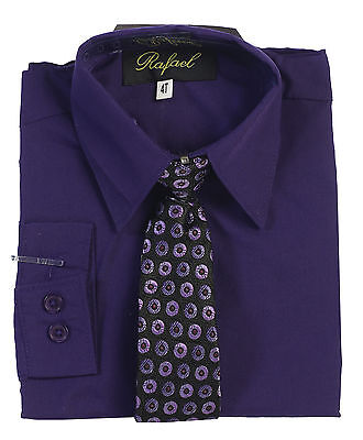 New Boy's Formal Purple Solid Long Sleeve Dress Shirt With Tie Sizes -