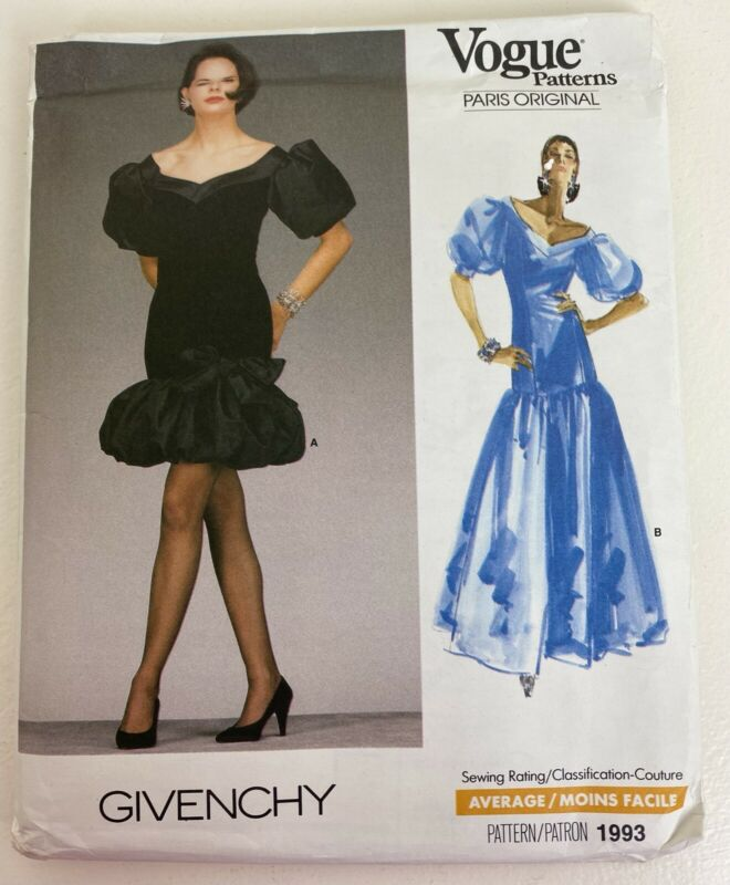 Vogue Pattern Paris Original Givenchy 1987 Size 10 Uncut