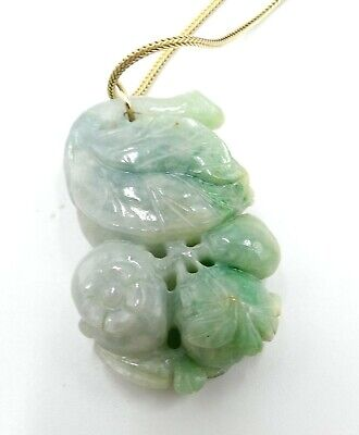 Vintage gold filled chain & carved Chinese natural jade pendant necklace