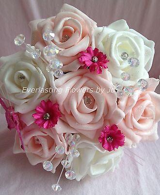 ARTIFICIAL PINK/HOT PINK/IVORY FOAM ROSE DAISY FLOWER GIRL WEDDING BOUQUET WAND - Daisy Bouquet Wand
