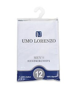 Men-039-s-12-Piece-White-Cotton-Handkerchiefs