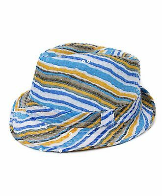 Summer  Blue & Yellow Striped Sequin Fedora Hat (H5636) - Sequin Fedora