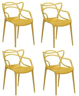 Set of 4 Master Dining Restaurant Bar Chair Retro Stackable - Mustard Yellow