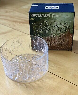 "VINTAGE Nuutajarvi Flora 7.5"" Glass Bowl NEW IN BOX- Crystal Wartsila Finland"