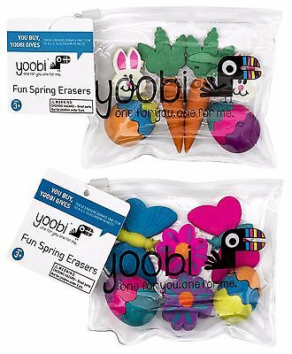 YOOBI 6pc FUN SPRING ERASERS Resealable Bag EASTER Eggs+Bunnies+More*YOU CHOOSE*