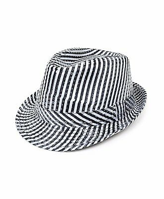 Summer/Spring Black & White Stripe Sequin Fedora Hat (H5629) (White Fedoras)