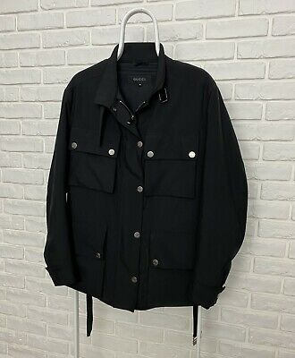Vintage Gucci Black Jacket Size 38 Full Zip Belted Retro Bomber Rare
