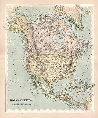 1900 Ca ANTIQUE MAP NORTH AMERICA