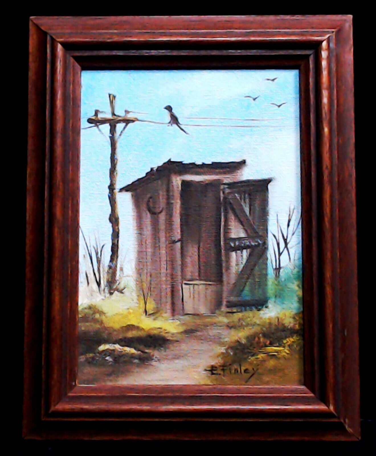 ORIGINAL ARTWORK Of E. FINLEY OIL On HARDBOARD FRAMED 9 BY 7 RUSTIC 2 PIECES  - $48.88