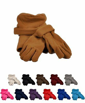 Women's Solid Color Polyester Fleece Warm Winter Set Gloves Hat and (Solid Color Polyester)