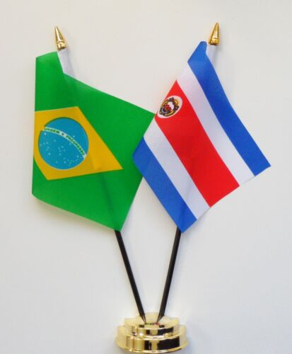 Brazil & Costa Rica Double Friendship Table Flag Set
