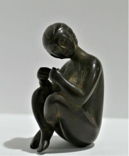 Vintage Japanese Hand Carved Wood Female Nude Figurine - Netsuke