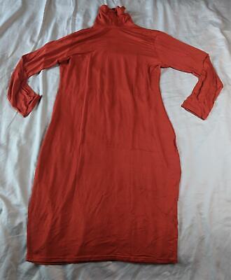 Boohoo Women's Plus Long Sleeve Roll Neck Midi Dress MW7 Rust Size US:14 UK:18