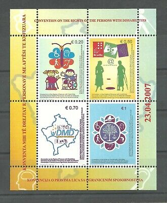KOSOVO 2007 Convention on the Rights block MNH