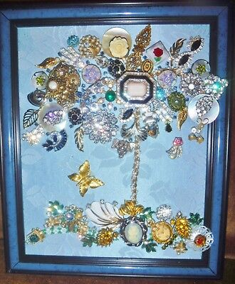 Vintage Jewelry Art Tree of Life, Blue Frame, signed