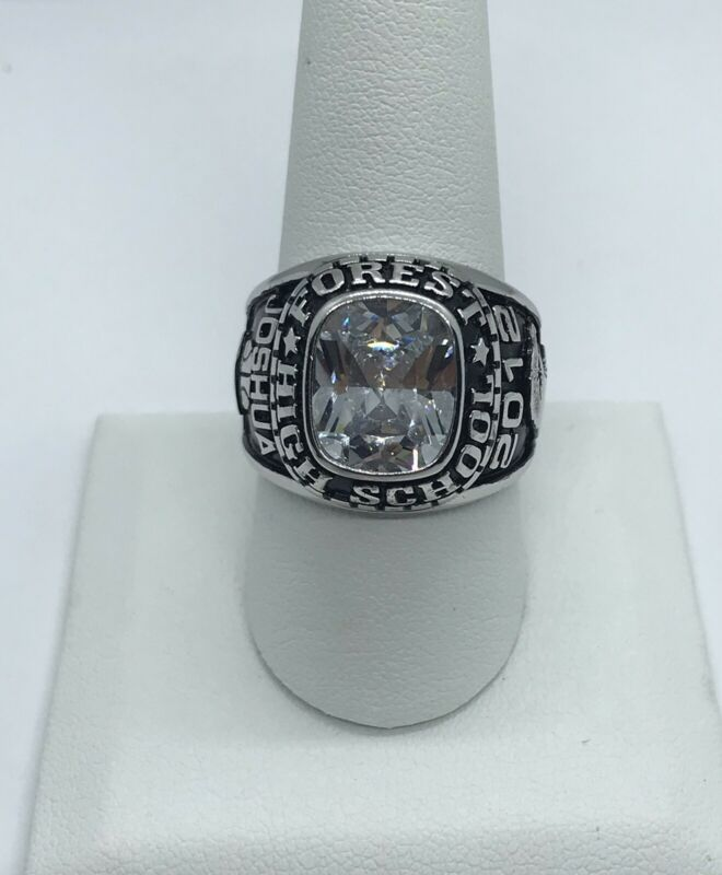 Silver tone Forest High School 2012 Ring basketball Name Joshua With Crystal
