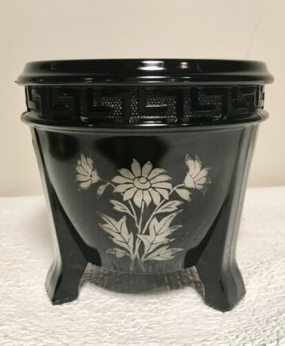 Vintage L.E. Smith Black Amethyst Glass Footed Urn/Vase with Gold Etched Flowers
