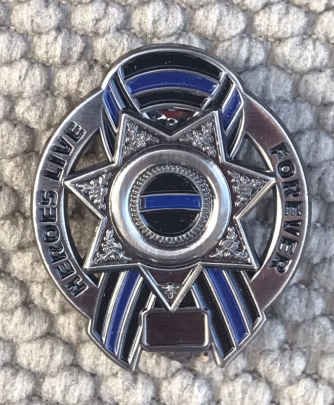 """Thin Blue Line Police Seven Point Star Pin 1 3/4"""" Heroes Live For Ever Ribbon"""