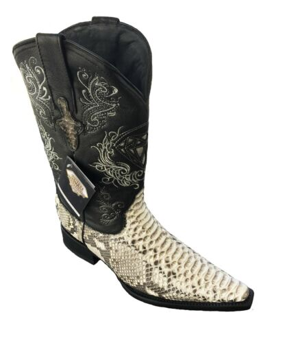 Mens, Genuine, Python, SnakeSkin, Leather, Cowboy, Western, Snip, Toe, Boots