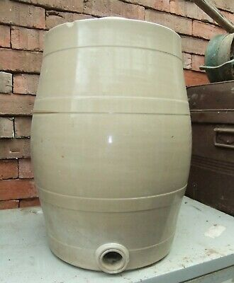 Large Antique Vintage Stoneware Barrel  20 inches High, Kitchen, Display, Garden