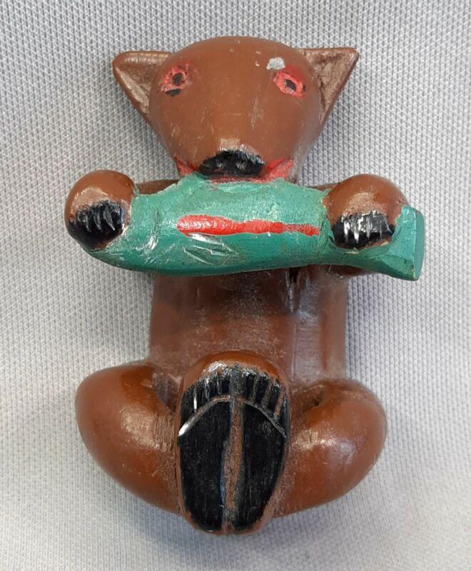 VTG BOY SCOUT NECKERCHIEF SLIDE CARVED PAINTED WOOD BEAR EATING FISH FOLK ART