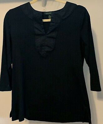 Lauren Ralph Lauren Black Knit Top Shirt Size Medium 3/4 Sleeve Satin Accents Black Satin Top Shirt