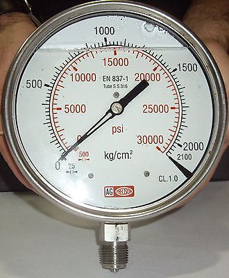 High Pressure Gauge Dual Scale 0-2000 Bar 0-30000 Psi Ideal For Common Rail