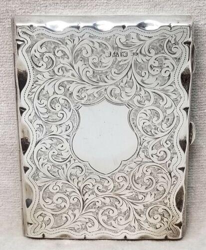 Vintage Chester 1900 Hallmarked Sterling Silver Embossed Card Case.