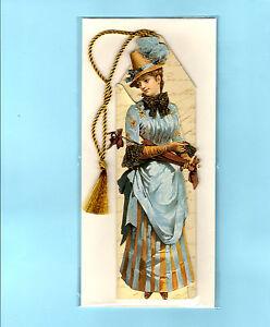 19th Vintage Victorian Bookmark Tassel Greeting Card Scraps Die Cut Lady Gifts