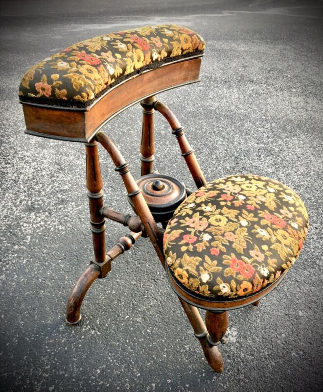EXTREMELY RARE & UNIQUE Antique George Hunzinger Walnut Sewing Chair NY 1869