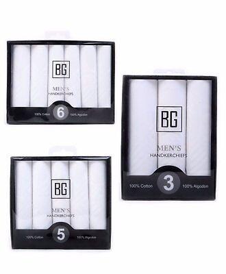BG Men's White 100% Cotton Soft Stylish Hanky Handkerchief Set (BGHB)