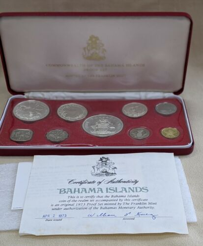 1973  Bahamas 9 Coin Proof Set In Red Leatherette  Presentation Case With COA