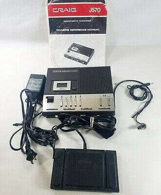 Craig J570 Desktop Microcassette Transcriber W Foot Pedal Micro Tapes - More