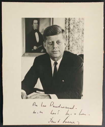 John F. Kennedy Presidential Photo Secretarial Signed Autographed + Inscribed